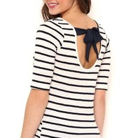 Striped Lace Hacci Top with Bow Back and Elbow Sleeves
