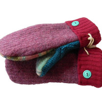WOOL SWEATER MITTENS by Sweaty Mitts Women's Recycled Handmade in Wisconsin Warm Purple Pink Blue Turquoise  Fleece Lined Plaid Unique
