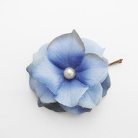 Blue Flower Hair Pin -- Cornflower Blue Hydrangea Flower Hair Clip / Bobby Pin - Wedding Hair Accessory