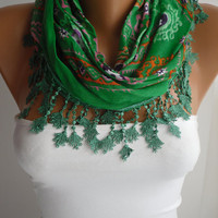 Green Floral Triangle Cotton Shawl Scarf - Headband - Cowl with  trim edge- Summer Trends