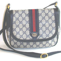 Vintage GUCCI Purse 1980s Monogram Canvas 80s Handbag Authentic GG