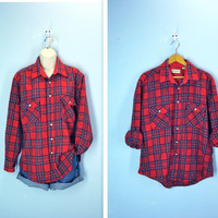 Vintage Flannel Shirt / Red Lumberjack Plaid Wool Shirt / unisex
