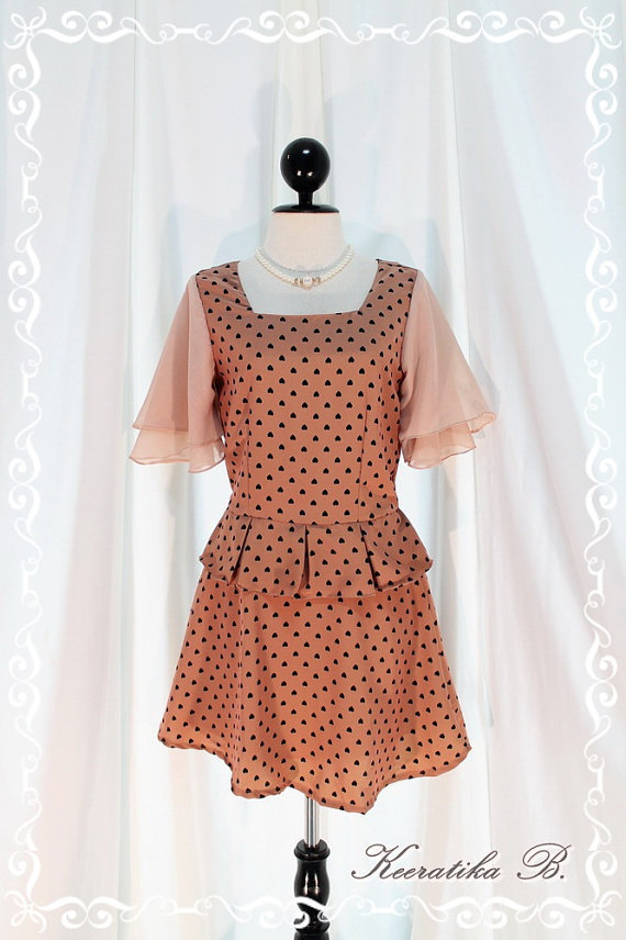Most Beautiful Lady - Polka Dot Dress Brown Nude Color Flutter Bell Sleeve Pleated Covered Skirt