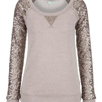Sequin sleeve scoop neck sweatshirt