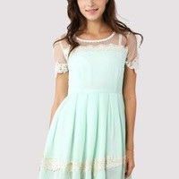 Mint Green Floral Lace Trim Dress with Pleated Skirt