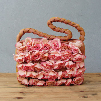 Christmas Sale - Pink Rose Bag - I Promise You A Rose Garden... Purse with Fabric Roses