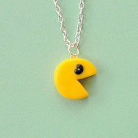 Pacman Polymer Clay Necklace by Pumpkinpye517 on Etsy