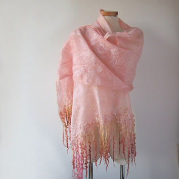 Cobweb Felted scarf, Peach Apricot stole, Light Peach shawl, felt shawl , Wedding Airy scarf by Galafilc