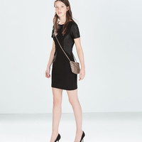 Faux leather combination dress