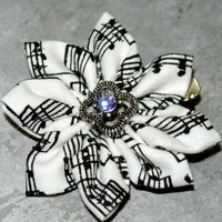 Mini musical note kanzashi hair flower