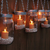 Hanging Mason Jar Garden Lights - DIY Lids Set of 6 Mason Jar Lantern Hangers or Flower Vase Hangers - Silver Chain - Wide Mouth Style
