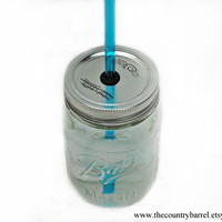 "1 DIY Mason Jar To-Go Tumbler Lid - Reusable Canning Jar Top and Straw - Aqua - 9"" Straw"