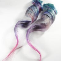 Fairy of Blueberry / Human Hair Extension / Pastel Purple Blue Pink / Long Tie Dye Colored Hair