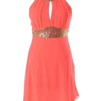 Coral Sequin Dress