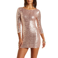 Three-Quarter Sleeve Sequin Dress by Charlotte Russe - Rose Gold