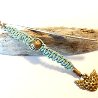 Turquoise Leather Macrame Bookmark, Unique Wings of Love Bookmark, Gift For Babysitter, Teacher Gift
