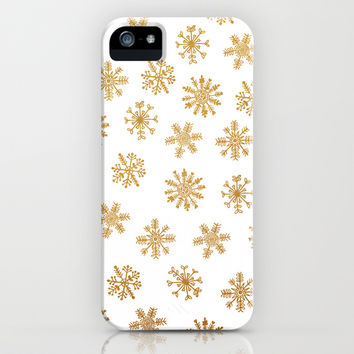Golden Snowflakes iPhone & iPod Case by Sandra Arduini