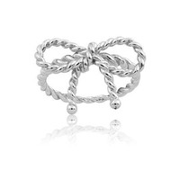Sterling Silver Twisted Bow Ring