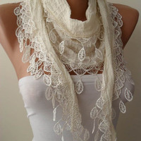 Creamy White Cotton and Summer Scarf with Trim - Summer Design -