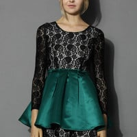 Floral Lace Mini Dress with Peplum in Emerald Green