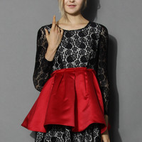Floral Lace Mini Dress with Peplum in Red Red