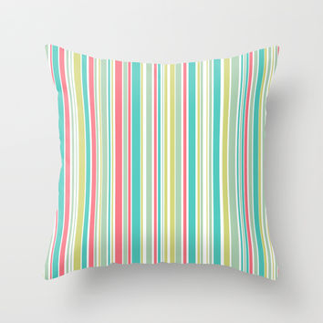 Candy Stripe Pastels Throw Pillow by Alice Gosling