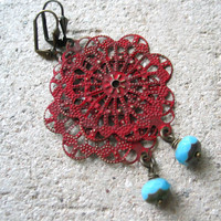 tango red lacy filigree earrings