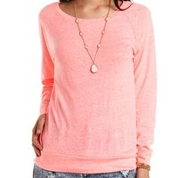 Oversized Raglan Sleeve Pullover by Charlotte Russe - Neon Coral