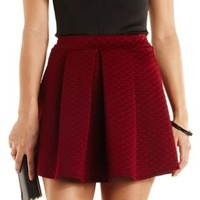 Quilted & Pleated Skater Skirt by Charlotte Russe - Wine