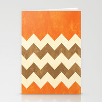 Orange, Brown and Cream Chevron Stationery Cards by Kat Mun | Society6