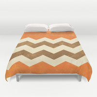 Orange, Brown and Cream Chevron Duvet Cover by Kat Mun | Society6
