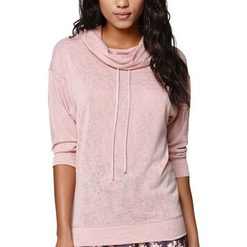 LA Hearts Funnel Neck Drawstring Top - Womens Tee - Taupe/Rose