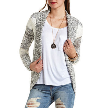 Marled Stripe Cocoon Cardigan Sweater - Ivory Combo