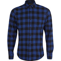 River Island MensBlue check flannel shirt