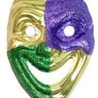 Purple and Green Glittered on Gold Joker Masquerade Mask 9in x 7 in