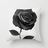 Fabric Rose Throw Pillow by Ruben Ireland
