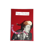 SID VICIOUS Christmas card The Sex Pistols Free Uk Postage Red ooak unique gift for Punk Rock Music fan