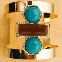 Stone Groove Stone Accent Gold Cuff Bracelet - Teal