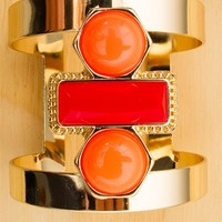 Stone Groove Stone Accent Gold Cuff Bracelet - Red