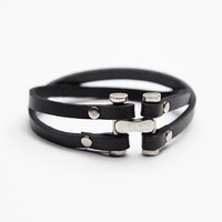 Free People Steel Clasp Leather Cuff