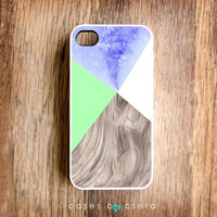 Unique iPhone Case, Wood iPhone 4 Case Neon Color Case, Mint Color Geometric iPhone Case Designer iPhone Case iPhone 4S Cover