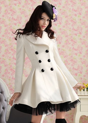 Elegant Gothic Double Breasted Gauze Trimming Coat
