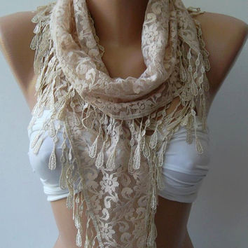 Scarf  - Elegance Scarf -Beige -  with Lacy Edge.