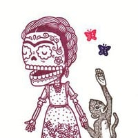 Frida Kahlo Calavera Limited Edition Gocco by MisNopalesArt