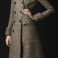 WOOL SILK TWEED GREATCOAT