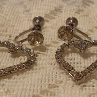 Vintage Rhinestone Heart Dangle Earrings