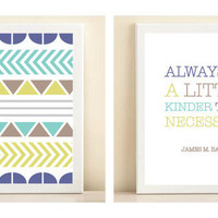 "Blue, Turquoise, and Lime ""Pattern"" & ""Be a Little Kinder"" posters"