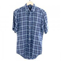Brooks Brothers 346 Preppy Navy Blue Plaid Irish Linen Shirt Men's Size Small (S) Brand New!