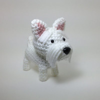 SALE / Westie Amigurumi Dog West Highland Terrier Crochet Dog Stuffed Animal Doll / Made to Order
