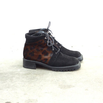 Vintage 90s CALF HAIR Cheetah Lace Up Chunky Heel Booties // Black Ankle Boots // Stuart Weitzman // Hipster Grunge // Women's US 8 / 8.5